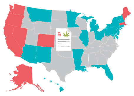 map of states that have legalized prescription marijuana